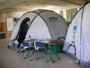 避難所での鍼灸スペース
