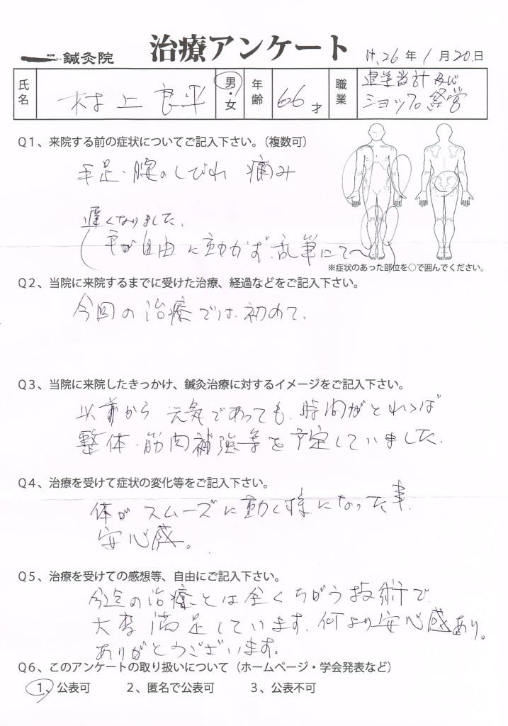 治療アンケート(手足の痺れ、腰痛)