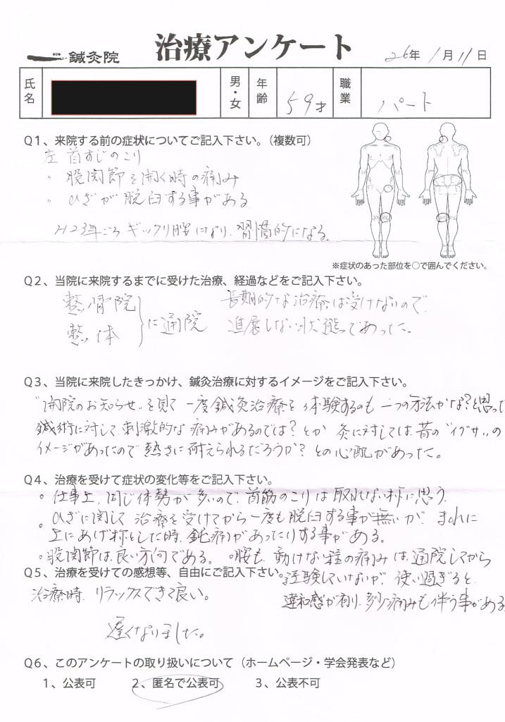 治療アンケート(腰痛・膝痛・首のこり)