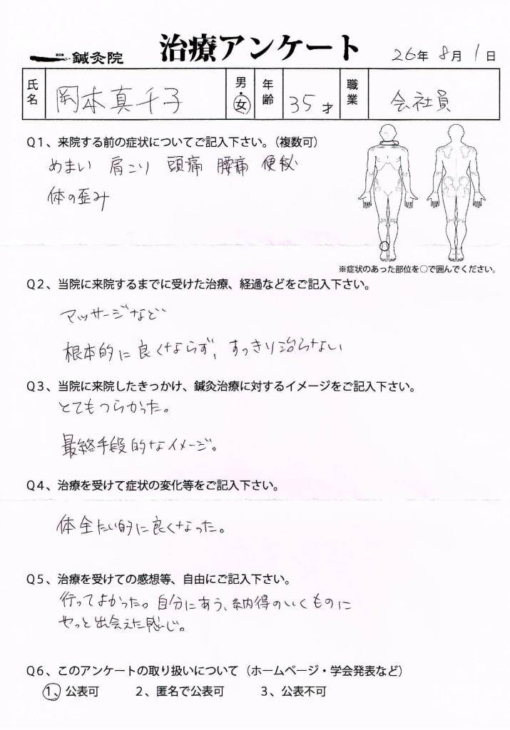 治療アンケート(めまい・頭痛・腰痛・便秘など)